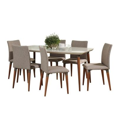 Charles 62.99 in. 7-Piece Off-White and Grey Dining Set