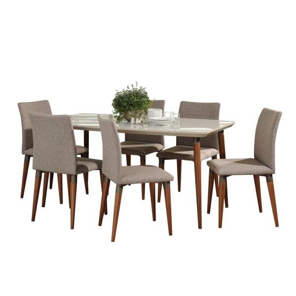 Manhattan Comfort Charles 62.99 in. 7-Piece Off-White and Grey Dining Set