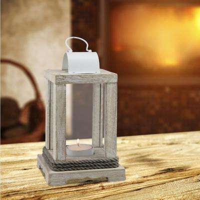 White Candle Operated Weathered Wood and Metal Lantern