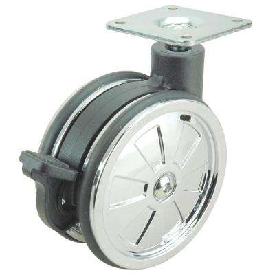 2-15/16 in. black and chrome Swivel with Brake Plate Caster, 110 lb. Load Rating