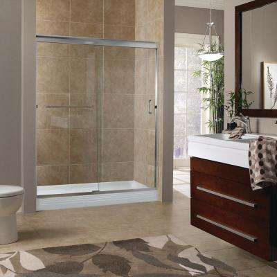 Marina 48 in. x 72 in. H Semi-Framed Sliding Shower Door in Brushed Nickel with 3/8 in. Clear Glass
