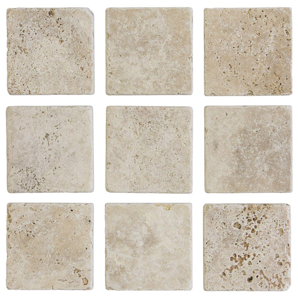 Jeffrey court 4 in x 4 in light travertine tumbled wall for Travertine accent tile
