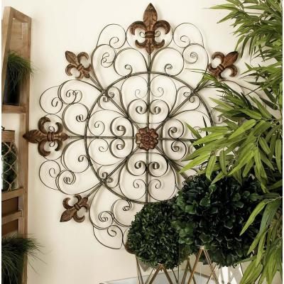 42 in. French-Inspired Bronze-Finished Iron Fleur de Lis and Scrollwork Wall Decor