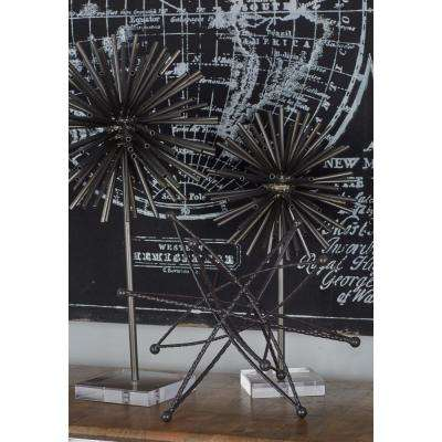 Spherical Tin Tube Sculptures with Acrylic Bases (Set of 2)