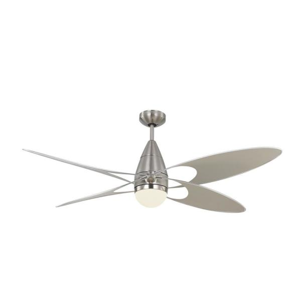 Butterfly 54 in. Integrated LED Indoor/Outdoor Brushed Steel Ceiling Fan Silver Blades and Remote Control