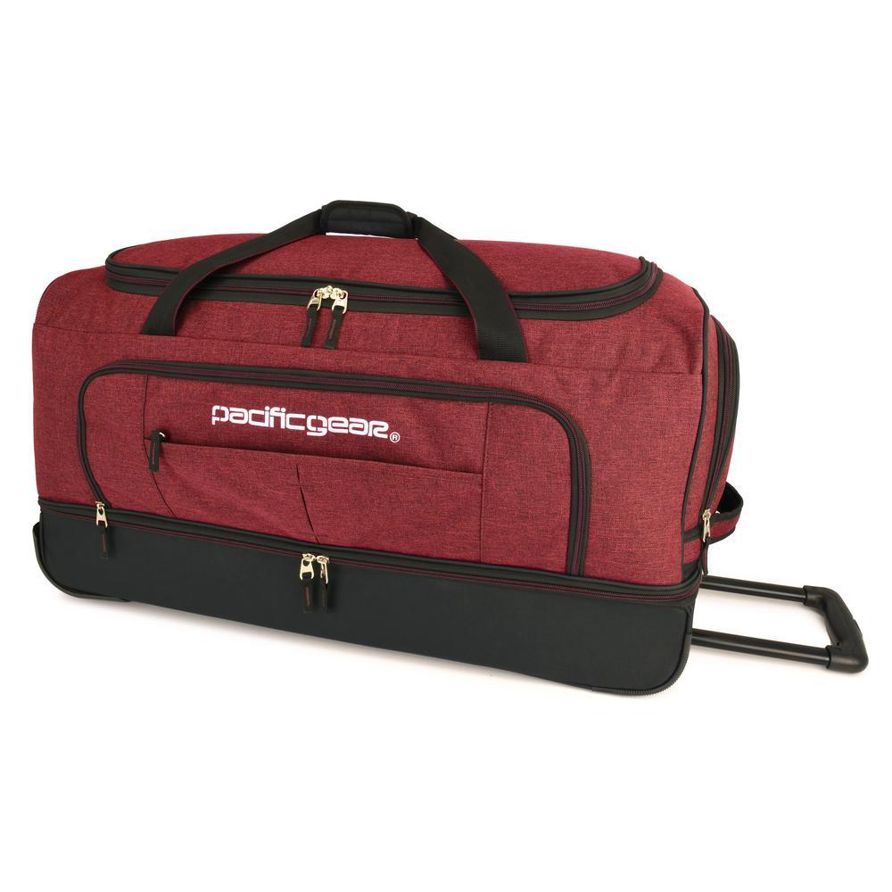 Keystone 30 in. Drop-Bottom Rolling Burgundy Duffel Bag
