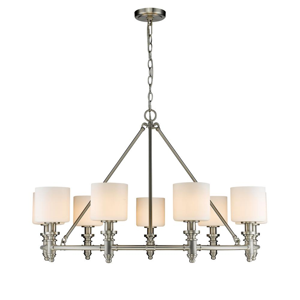 Golden lighting beckford pw 9 light pewter chandelier with opal golden lighting beckford pw 9 light pewter chandelier with opal glass shade aloadofball Image collections