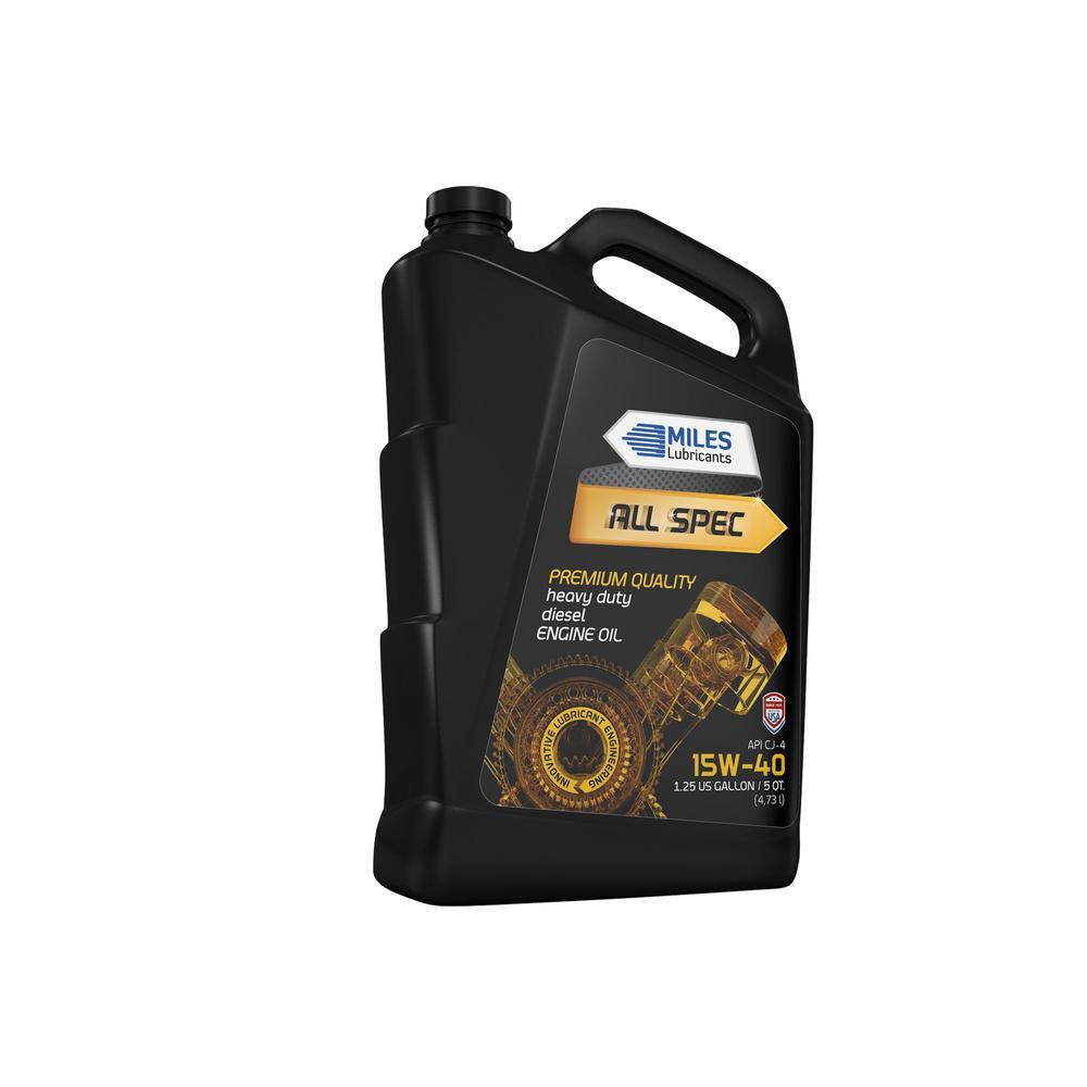 Miles Lubricants All Spec 15W-40 API CK-4, 5 Qt  Heavy Duty Diesel Motor  Oil Bottle (Pack of 4)