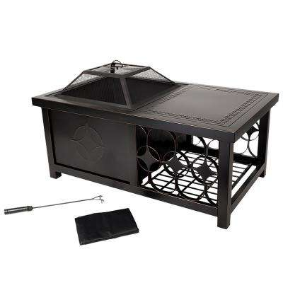 Milano 28 in. Steel S'mores Fire Pit in Rubbed Bronze with Cover and Poker