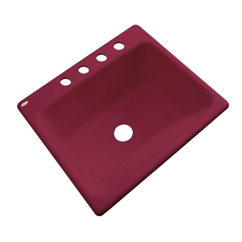 Thermocast Kensington Drop-In Acrylic 25 in. 4-Hole Single Bowl Utility Sink in Ruby