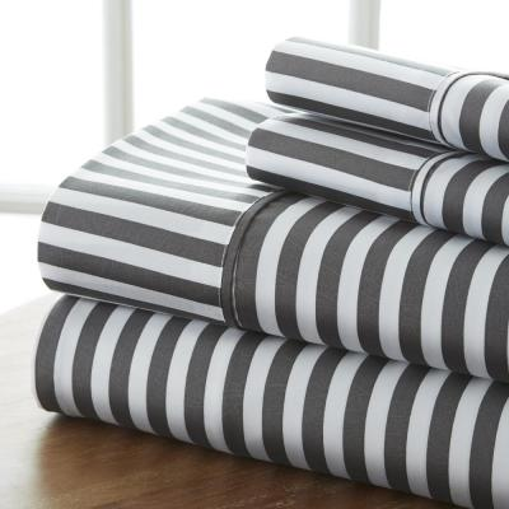 4-Piece Gray Striped Microfiber Queen Sheet Set