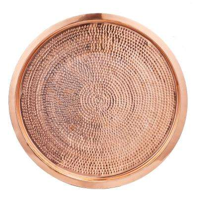 15 in. Dia Stone Hammered Dia Solid Copper Round Tray
