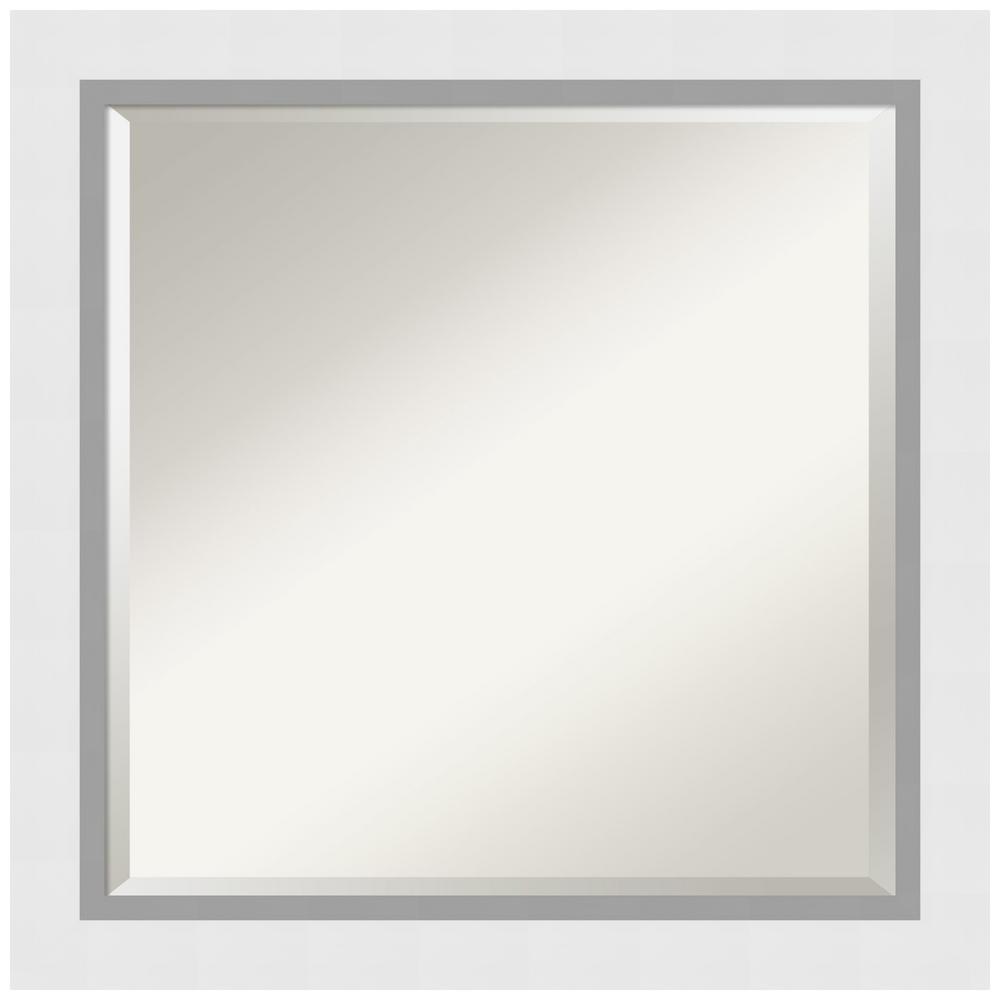 Medium Square Satin White Contemporary Mirror (24 in. H x 24 in. W)