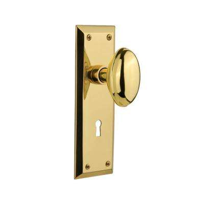 New York Plate with Keyhole Double Dummy Homestead Door Knob in Polished Brass