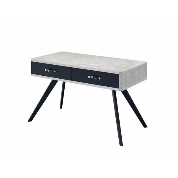 23.62 in. W Black and Gray Faux Concrete Desk with 2-Drawers and Flared Legs
