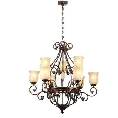 Freemont Collection 9-Light Hanging Antique Bronze Chandelier with Glass Shades