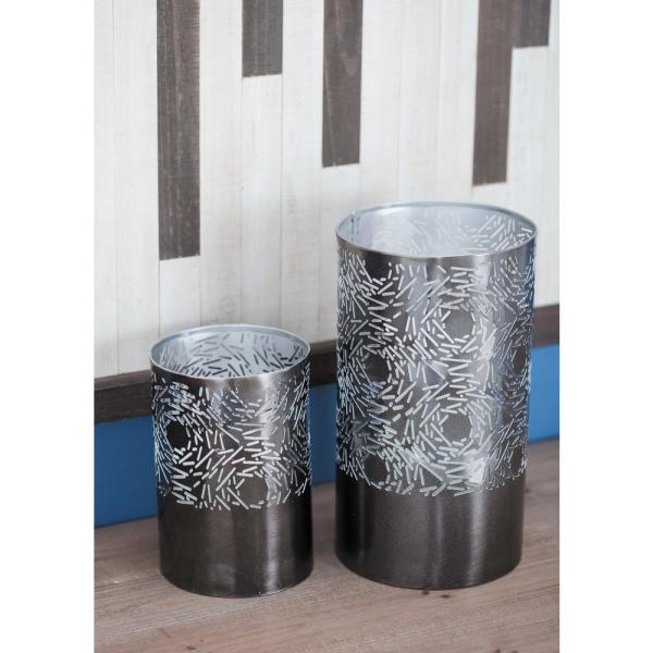 Gray Iron Metal Cylindrical Candle Holder with Circular Pattern Cutouts (Set of 2)
