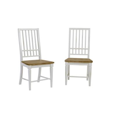 Shutters Light Oak and Distressed White Dining Chairs (2-Count)