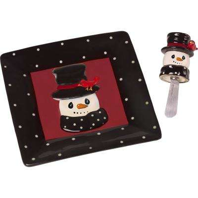 8 in. W Snowman Cheese Plate And Snowman Spreader