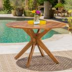 Teak Brown Round Wood Outdoor Dining Table