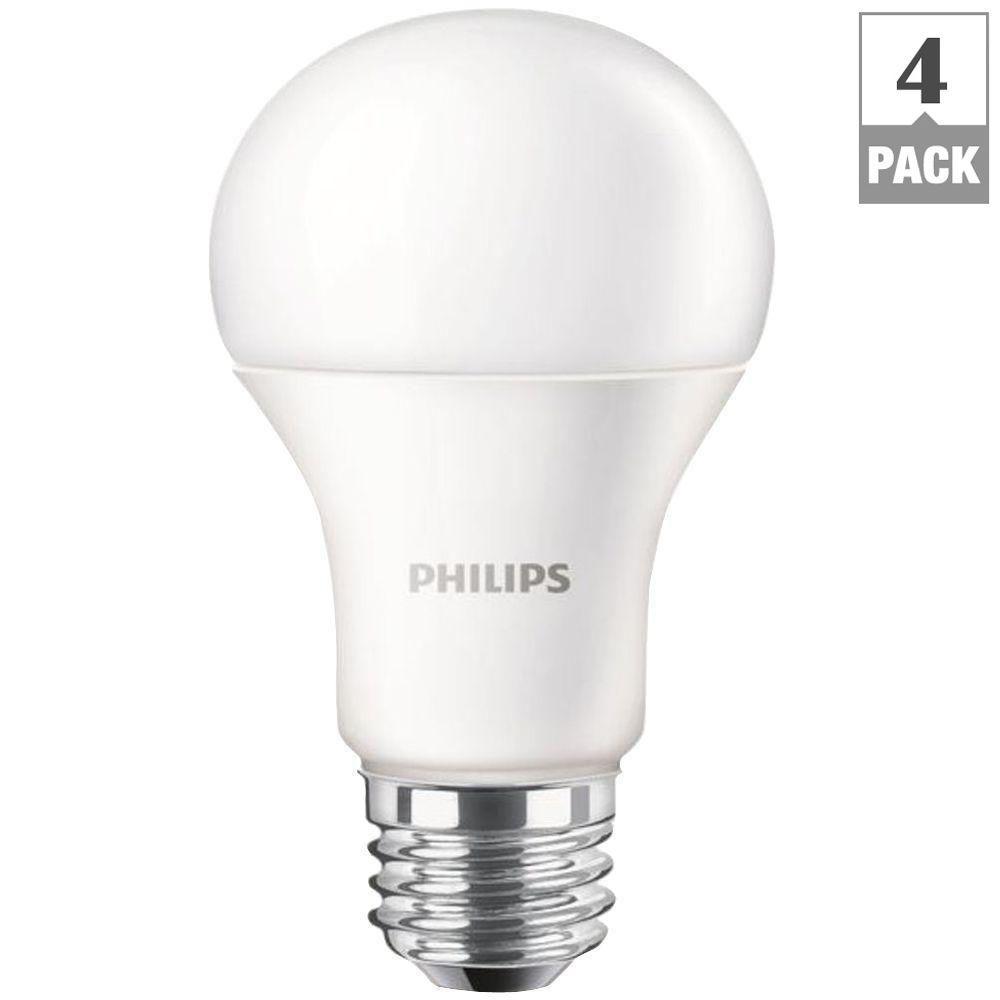 philips 100 watt equivalent a19 led light bulb daylight 4 pack 455717 the home depot. Black Bedroom Furniture Sets. Home Design Ideas