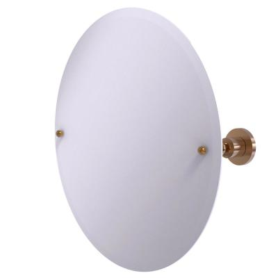 22 in. x 22 in. Astor Place Frameless Round Tilt Mirror with Beveled Edge in Brushed Bronze