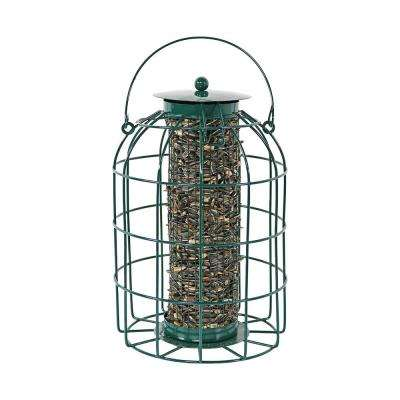 9 in. Green Wire Outdoor Squirrel-Proof Wild Bird Seed Feeder