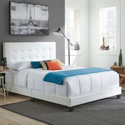 Channing White Queen Tufted Upholstered Platform Bed