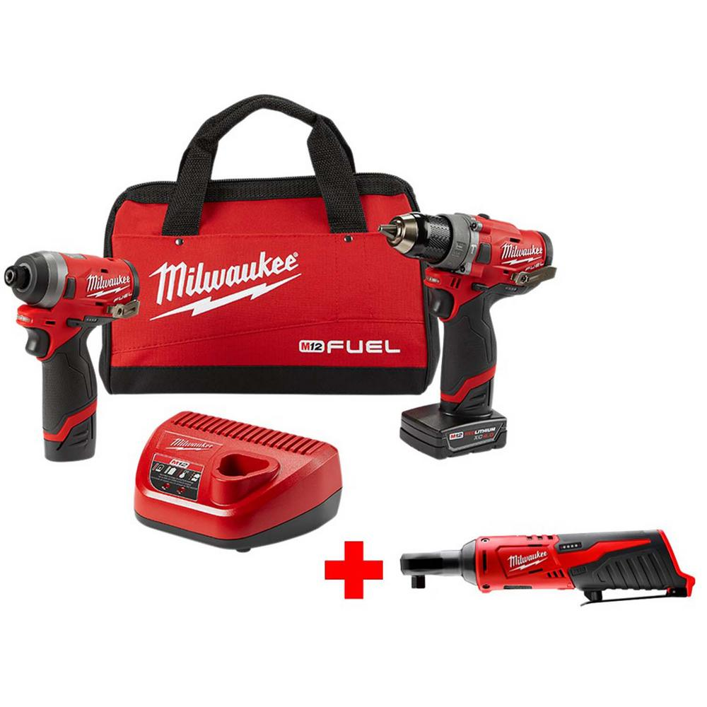 Milwaukee M12 FUEL 12-Volt Li-Ion Brushless Cordless Hammer Drill and Impact Driver Combo Kit (2-Tool)w/ Free M12 3/8 in. Ratchet