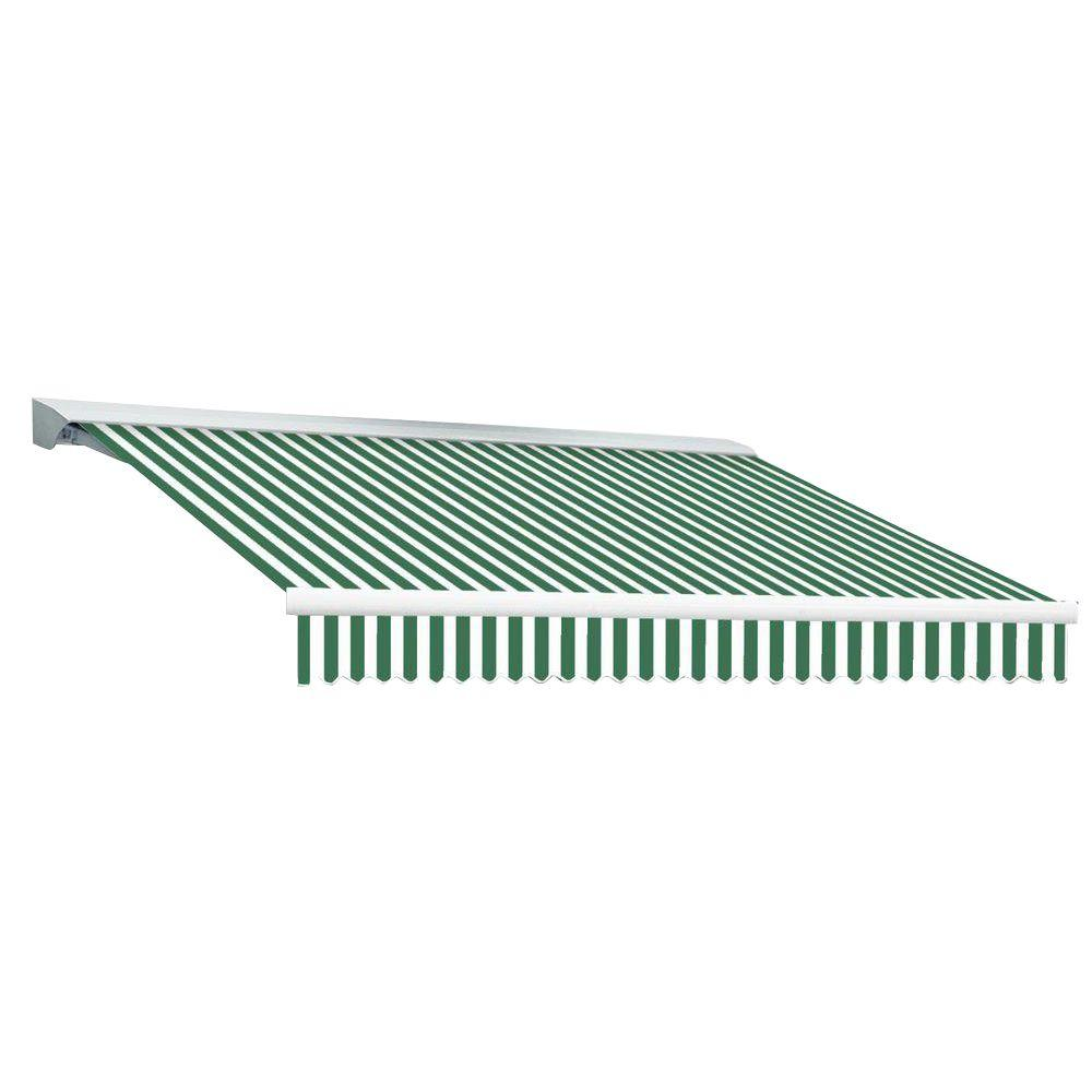 Beauty-Mark 16 ft. DESTIN EX Model Left Motor Retractable with Hood Awning (120 in. Projection) in Forest Green and White Stripe