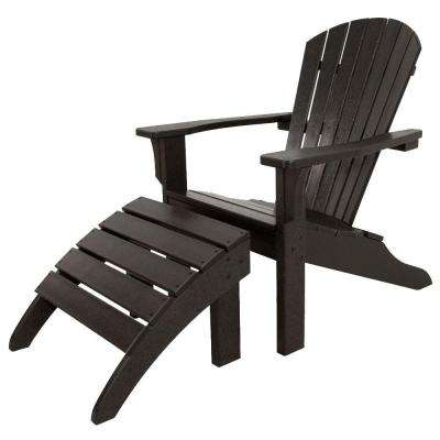 Classics Black 2-Piece Shell Back Plastic Patio Adirondack Chair