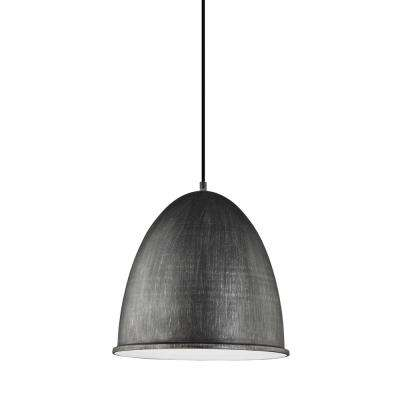 Hudson Street 15.75 in. W. 1-Light Weathered Gray Pendant with LED Bulb