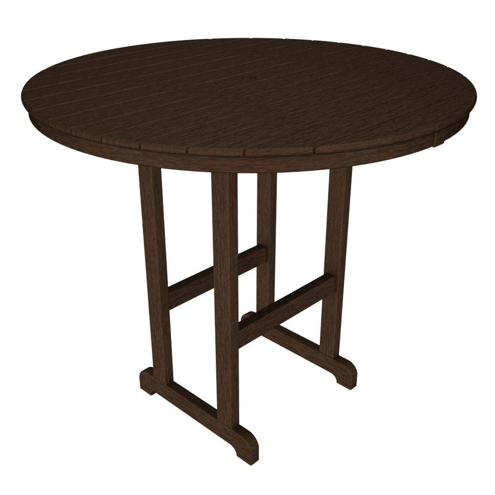 POLYWOOD La Casa Cafe Mahogany 48 in. Round Patio Bar Table