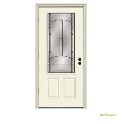 36 in. x 80 in. 3/4 Lite Idlewild Vanilla Painted Steel Prehung Right-Hand Outswing Front Door w/Brickmould