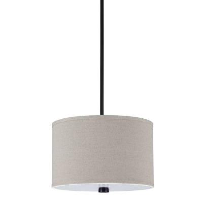 Dayna 2-Light Burnt Sienna Shade Pendant with Linen Shade