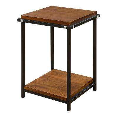 Nordic Dark Walnut and Black Square End Table