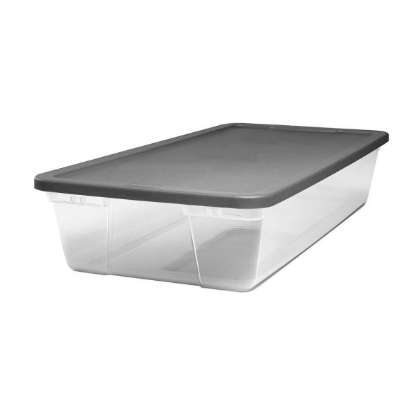 Snaplock 41 Qt. Under Bed Clear Storage Container with Gray Lid (2-Pack)