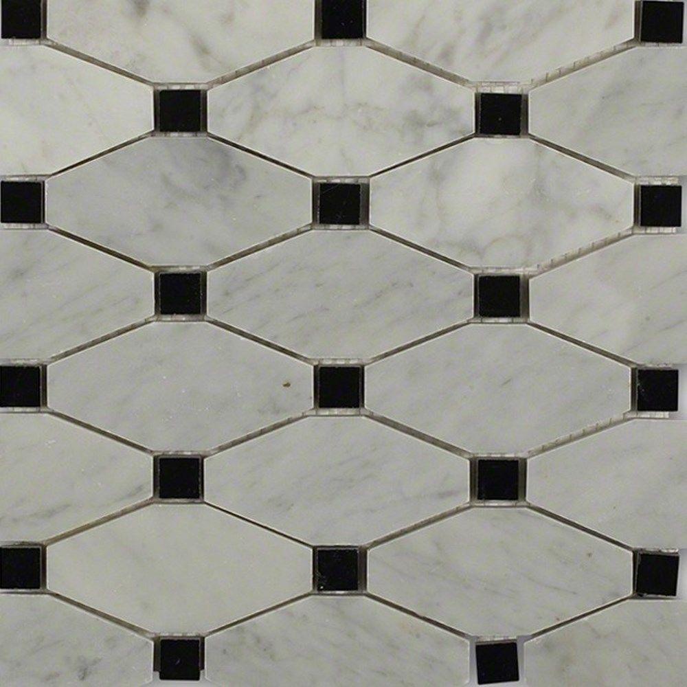 Splashback Tile Diapson White Carrera with Black Dot Polished Marble ...
