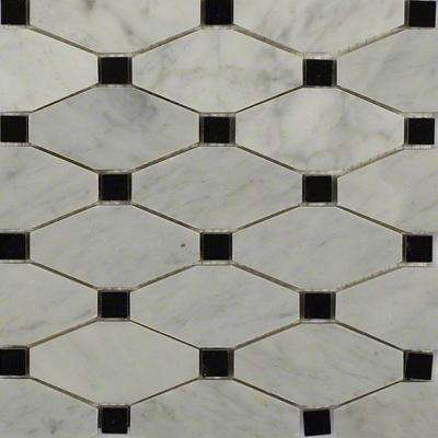 diapson white carrera with black dot polished marble tile 3 in x 6 in