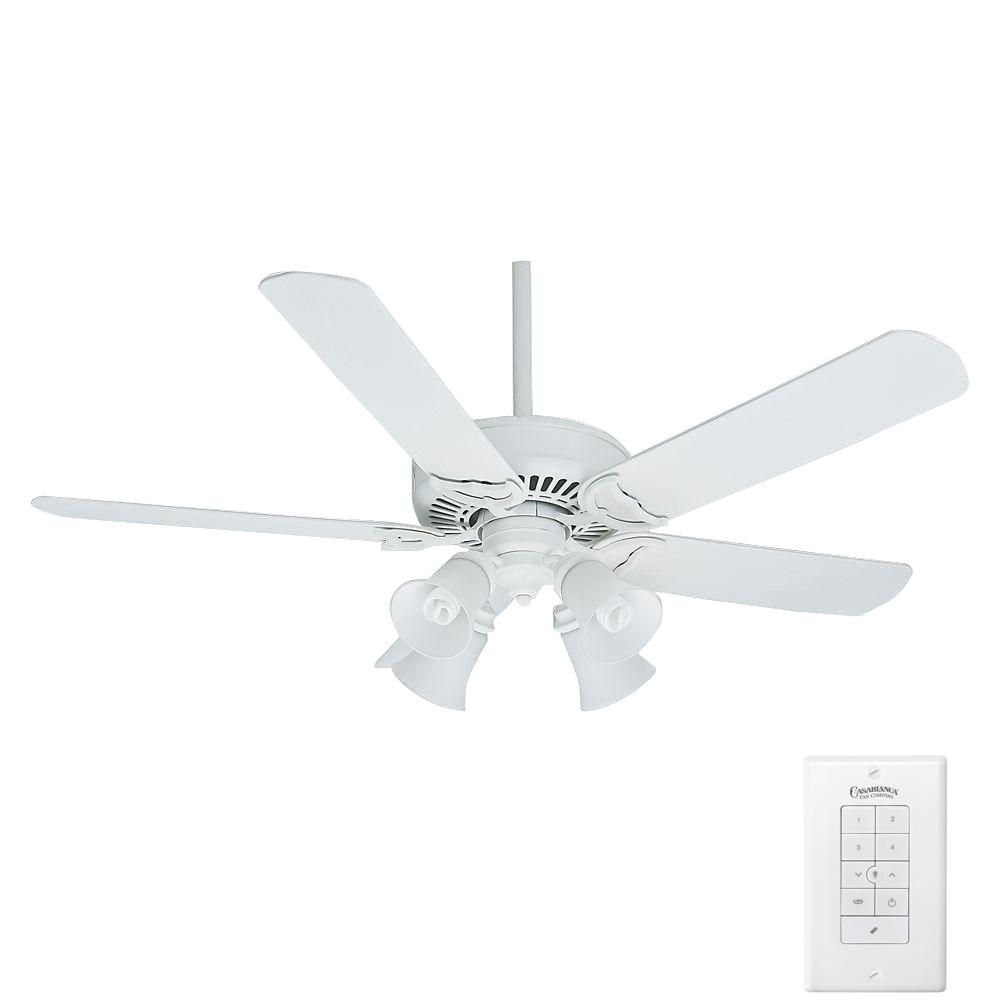 white ceiling fan with light kit