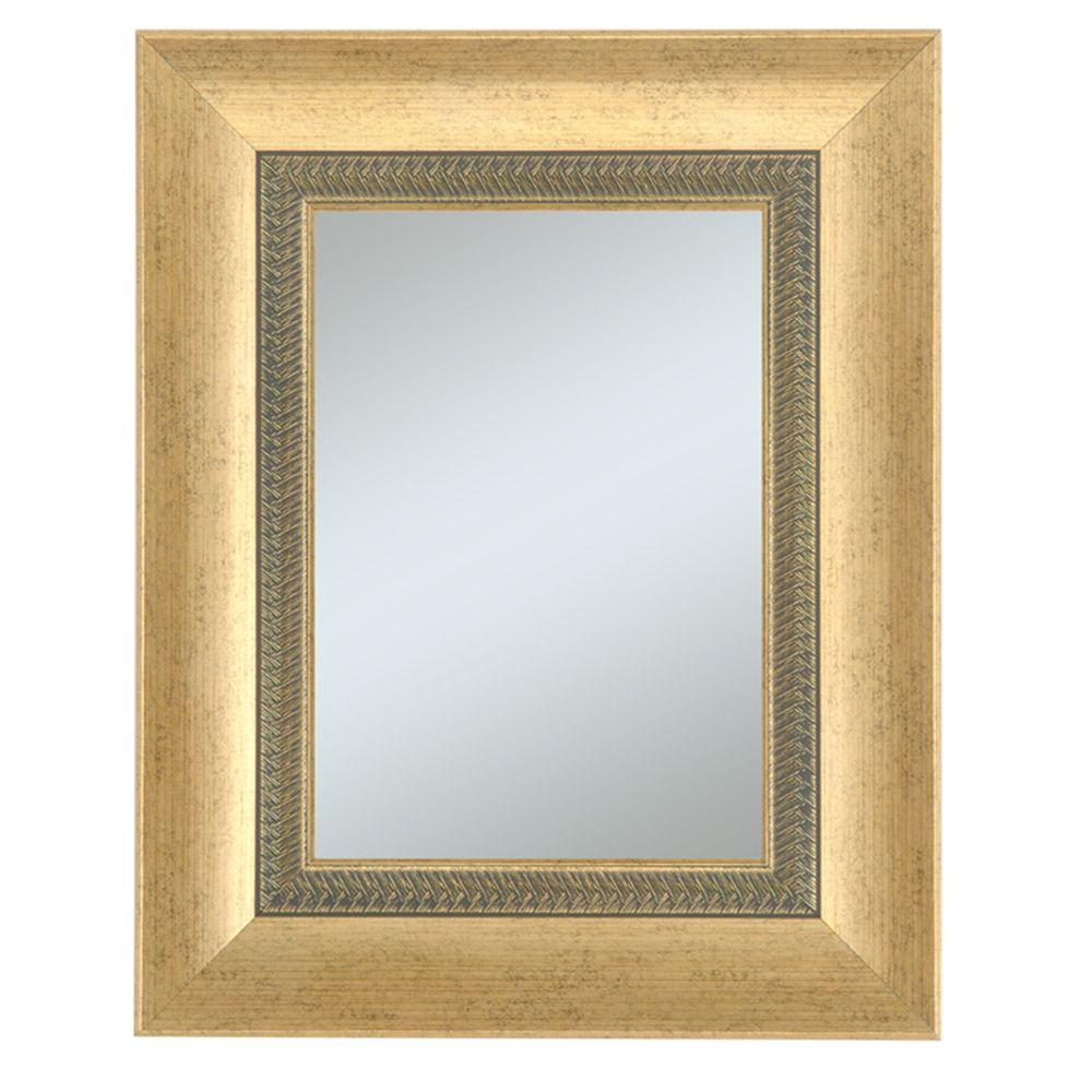 Alpine Art & Mirror Welch Family 27 in. x 33 in. Gold Framed Wall Mirror with Decorative Lip