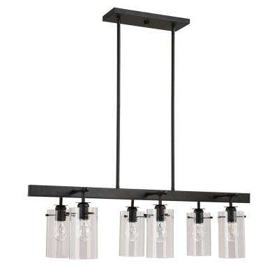 Brooklyn Collection 6-Light Black Pendant with Clear Glass Shades