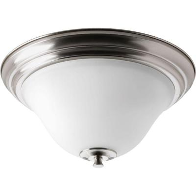 Cantata Collection 2-Light Brushed Nickel Flush Mount with Etched White Glass