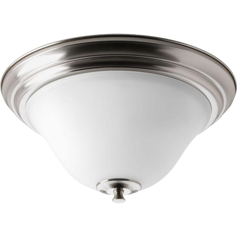 Cantata Collection 2-Light Brushed Nickel Flushmount with Etched White Glass