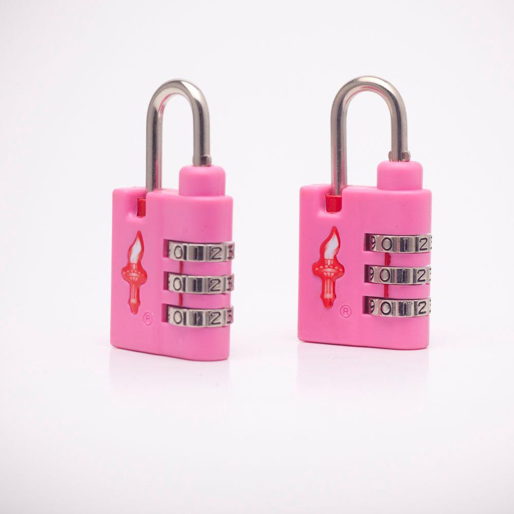 Safe Skies Aero Light Weight 3 Dial TSA Combination Lock Double Pack in Bubble Gum Pink