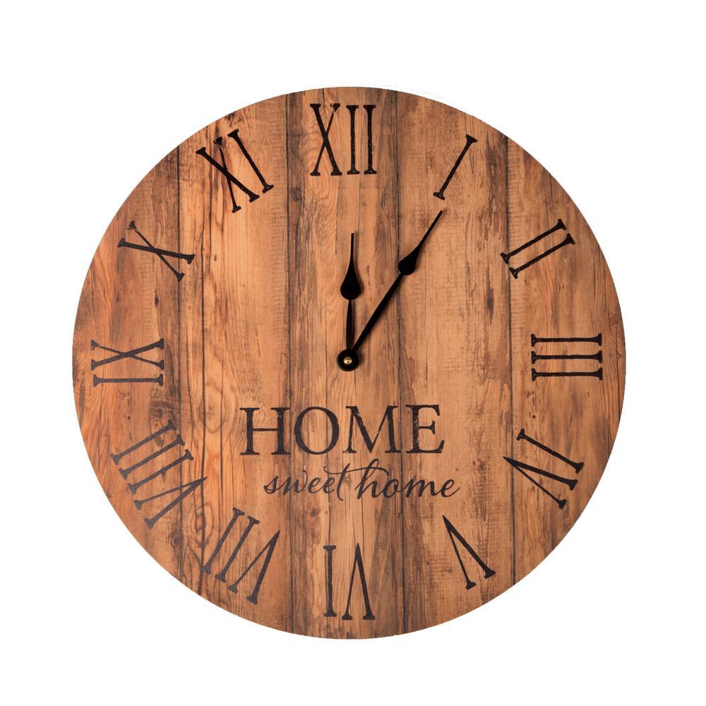 Home Sweet Home Brown Pine Wood Clock