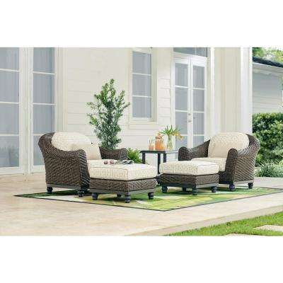 Camden Dark Brown Stationary Wicker Outdoor Lounge Chair With Sunbrella Fretwork Flax Cushions 2