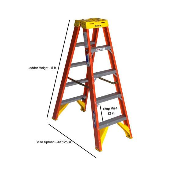 Werner 5 Ft Fiberglass Twin Step Ladder With 300 Lb Load Capacity Type Ia Duty Rating T6205 The Home Depot