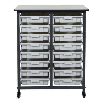 37 in. x 30 in. Mobile Bin Storage Cart Double Row and Single Bin Plastic in Black Frame