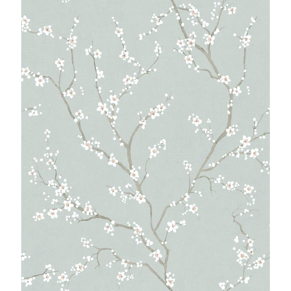 York Wallcoverings 28 18 Sq Ft Grey Cherry Blossom Peel And